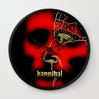 hannibal Wall Clocks featuring Hannibal by Fan Prints