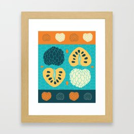 Tropical Paleo – Custard Apple in Blue Framed Art Print