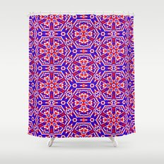 Red, White and Blue Polygons 241 Shower Curtain