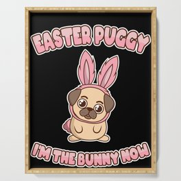 Easter Bunny Pug Dog Lover Cute Funny Cool Serving Tray