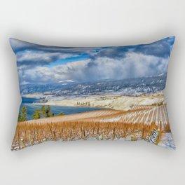 Okanagan Valley Winter Vineyard Rectangular Pillow