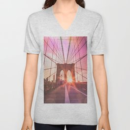NYC Brooklyn Bridge Unisex V-Neck
