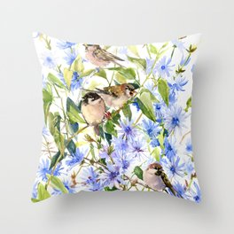 Sparrows and Chicory Flowers Throw Pillow