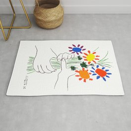 Pablo Picasso Bouquet Of Peace 1958 (Flowers Bouquet With Hands), T Shirt, Artwork Rug