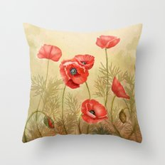 Red Poppies  Throw Pillow