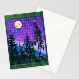 Moonlit Plaid Forest Stationery Cards
