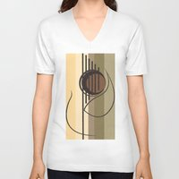 guitar V-neck T-shirts featuring Guitar by Justis Rivera