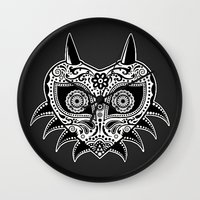 majoras mask Wall Clocks featuring Sugarskull / Majoras mask / black'n'white by tshirtsz
