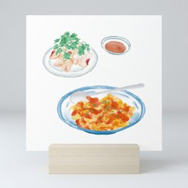 Watercolor Illustration of Chinese Cuisine - Scrambled Eggs with Tomatoes and chopped unflavored cold chicken   番茄炒蛋和白斩鸡 Mini Art Print
