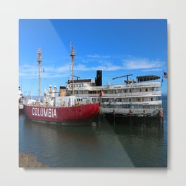 Riverboat Legacy and Fireship Columbia on Columbia River Metal Print