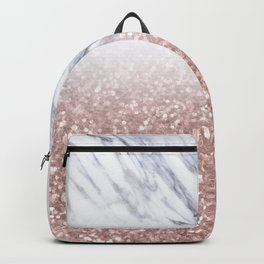 Rose Gold Glitter Marble Backpack
