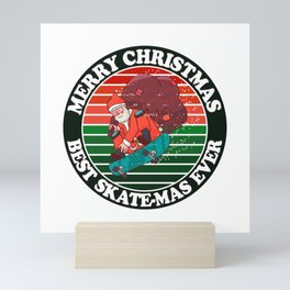 Christmas Skateboarding Santa Mini Art Print