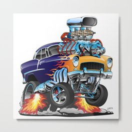 Classic Fifties Hot Rod Muscle Car Cartoon Metal Print
