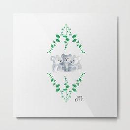 Koalas in Eucalyptus Metal Print