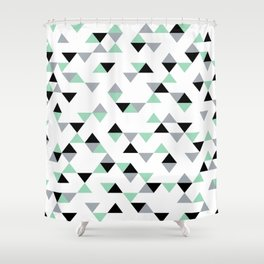 Triangles Mint Grey Shower Curtain