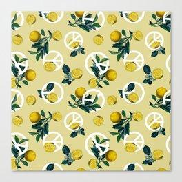 Peace Symbol and Lemon Patterns Canvas Print