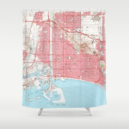 Vintage Map of Long Beach California (1964) 4 Shower Curtain