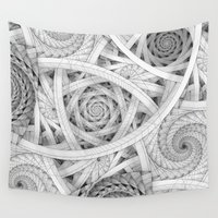 escher Wall Tapestries featuring GET LOST - Black and White Spiral by Nirvana.K