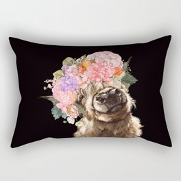Highland Cow With Flower Crown Black Rectangular Pillow