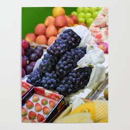 Market Display of Fruit - Kitchen or Cafe Decor Poster