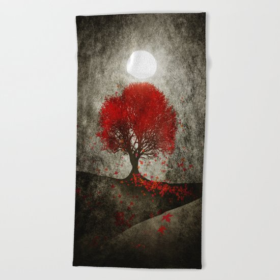 Red autumn. Beach Towel