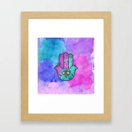 Girly Watercolor Floral Print Hamsa Hand of Fatima Framed Art Print