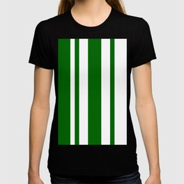 Mixed Vertical Stripes - White and Dark Green T-shirt