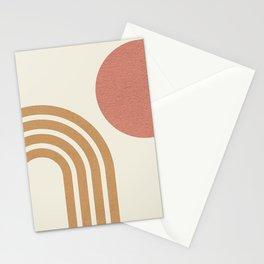 Mid century modern pink Sun & Rainbow Stationery Cards