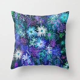 Eden Floral Blue Throw Pillow