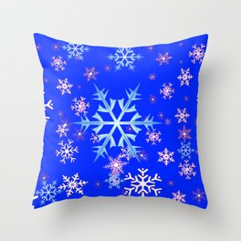 DECORATIVE BLUE  & WHITE SNOWFLAKES PATTERNED ART Throw Pillow