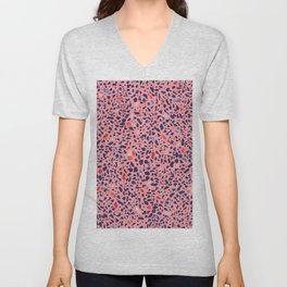 Terrazzo pink red blue Unisex V-Neck