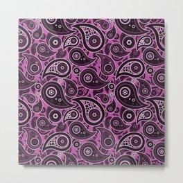 Magenta Purple Paisley Pattern Metal Print