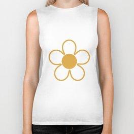 Geometric Golden Yellow & White Summer Daisies Biker Tank