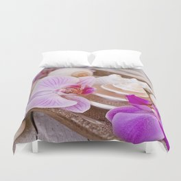 Pink Orchid and Sea Shell Maritime Still Life Duvet Cover