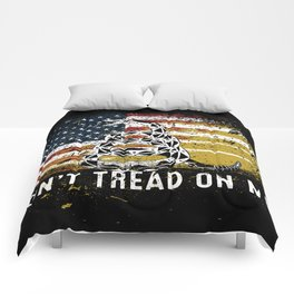 Don't Tread on Me Military USA American Flag Rattlesnake Distressed Design American Revolution Comforters