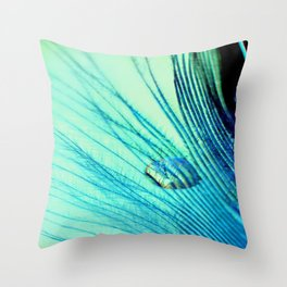 Feather And Water Blue Throw Pillow