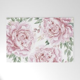Girly Pastel Pink Roses Garden Welcome Mat
