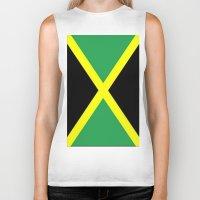 jamaica Biker Tanks featuring Jamaica Flag by D.A.S.E. 3