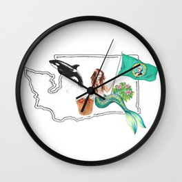 Washington Mermaid Wall Clock