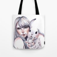 cuddle Tote Bags featuring Cuddle! by Koanne Ko