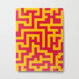 Amber Orange and Crimson Red Labyrinth Metal Print