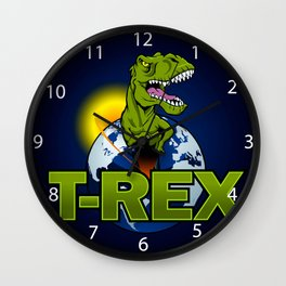 T Rex Dinosaur in the planet Wall Clock