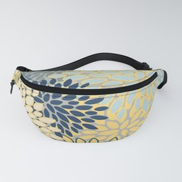 Floral Print, Yellow, Gray, Blue, Teal Fanny Pack