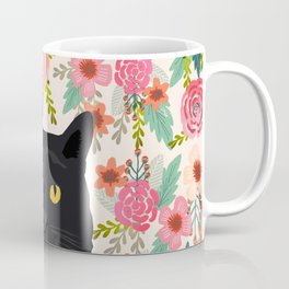 Black Cat cat breed floral pattern background pet gifts cats kitten mom gifts Coffee Mug