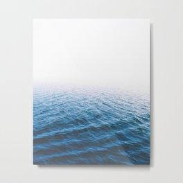 Sea, Ocean, Water, Blue, Modern art, Art, Minimal, Scandinavian, Wall art Print Metal Print