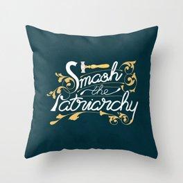 Smash the Patriarchy Feminist Art Nouveau Calligraphy Illustration Throw Pillow