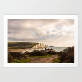 Coastguard cottages facing the Seven Sisters Art Print