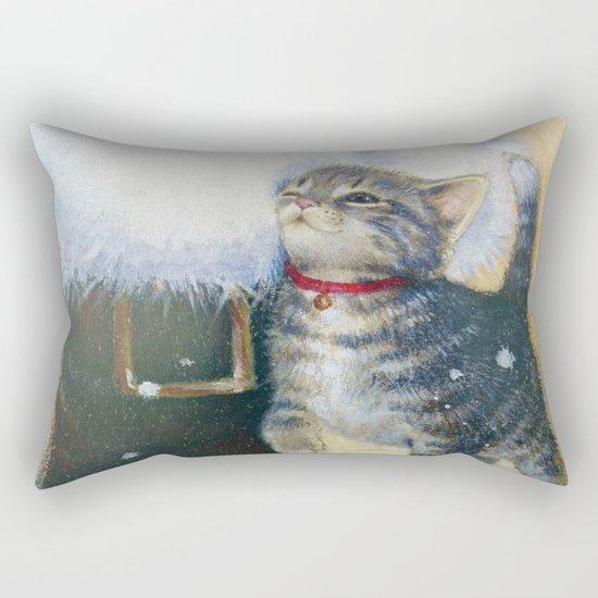 Kitten at Santa's Boot Rectangular Pillow