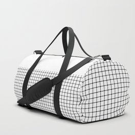 Dotted Grid Black on White Boarder Duffle Bag