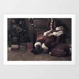 Santa Claus fast asleep after Christmas Art Print